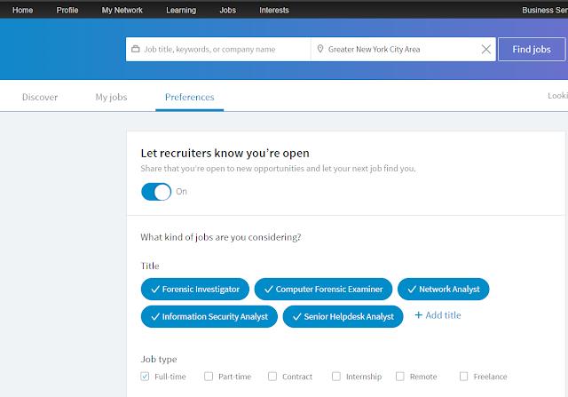 The preferences menu in LinkedIn Jobs tab