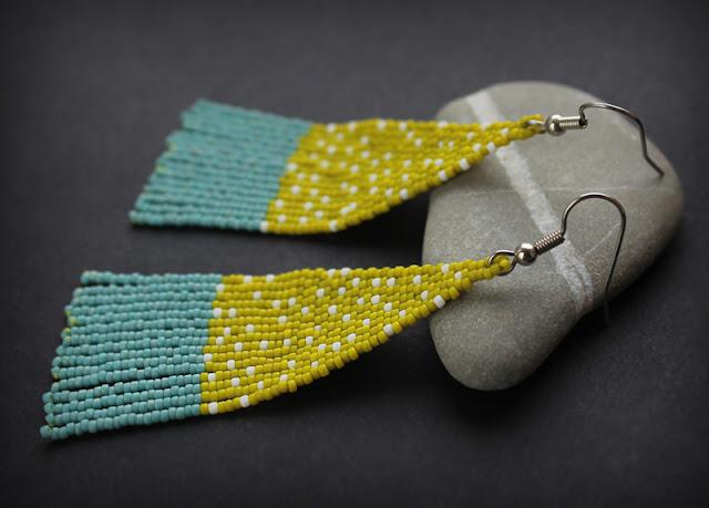купить яркие серьги в горошек бисерные украшения ручной работы