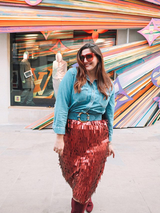 A festive holiday sequin skirt