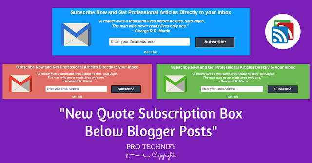 Quote subscription box below blogger post
