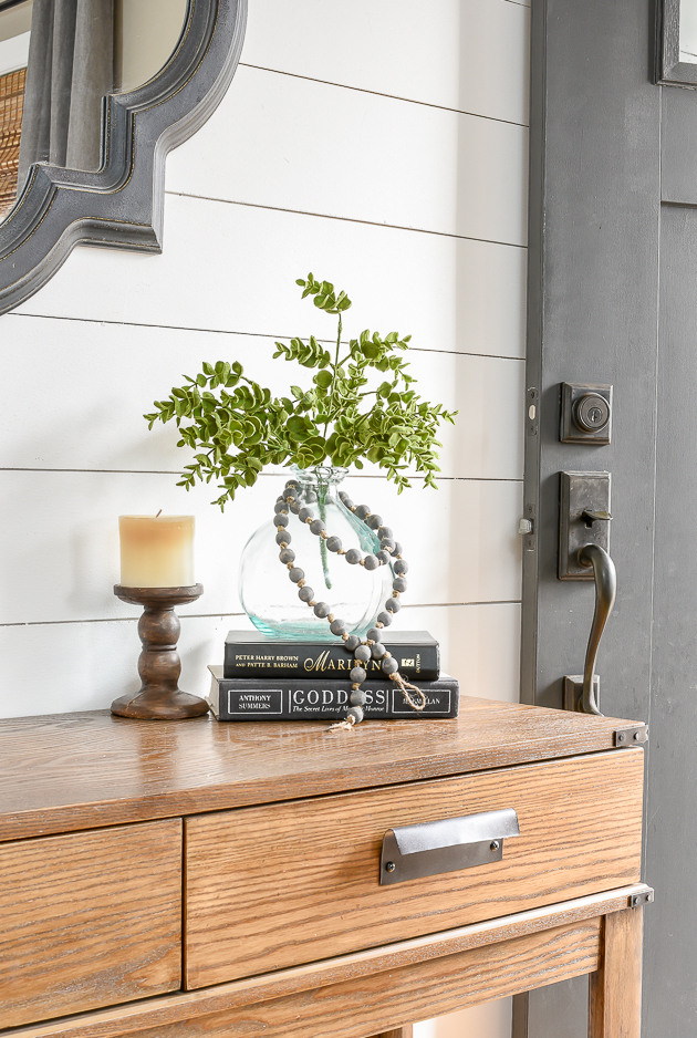 Favorite faux greenery on entry table