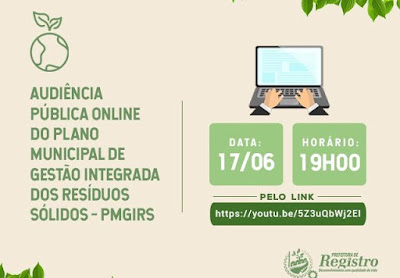 Audiência Pública sobre o Plano Municipal de Gerenciamento Integrado de Resíduos Sólidos será virtual
