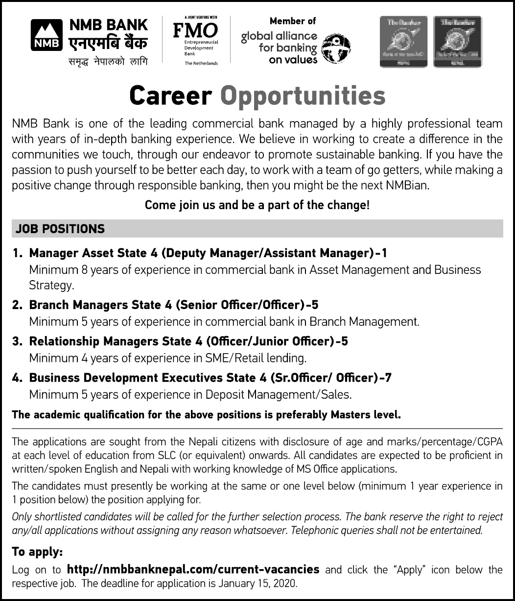 Career Opportunities at NMB Bank