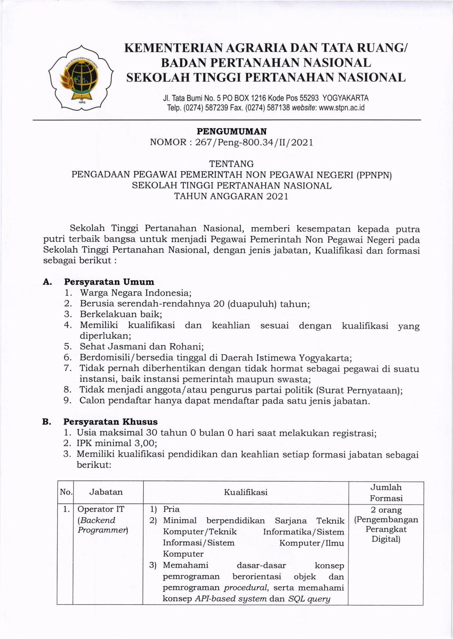 Lowongan Kerja Pegawai PPNPN STPN Kementerian Agraria dan Tata Ruang Tahun Anggaran 2021