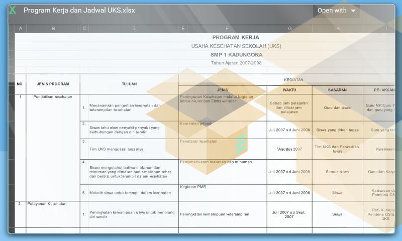 Contoh Bentuk Program Kerja dan Jadwal UKS Format Microsoft Excel
