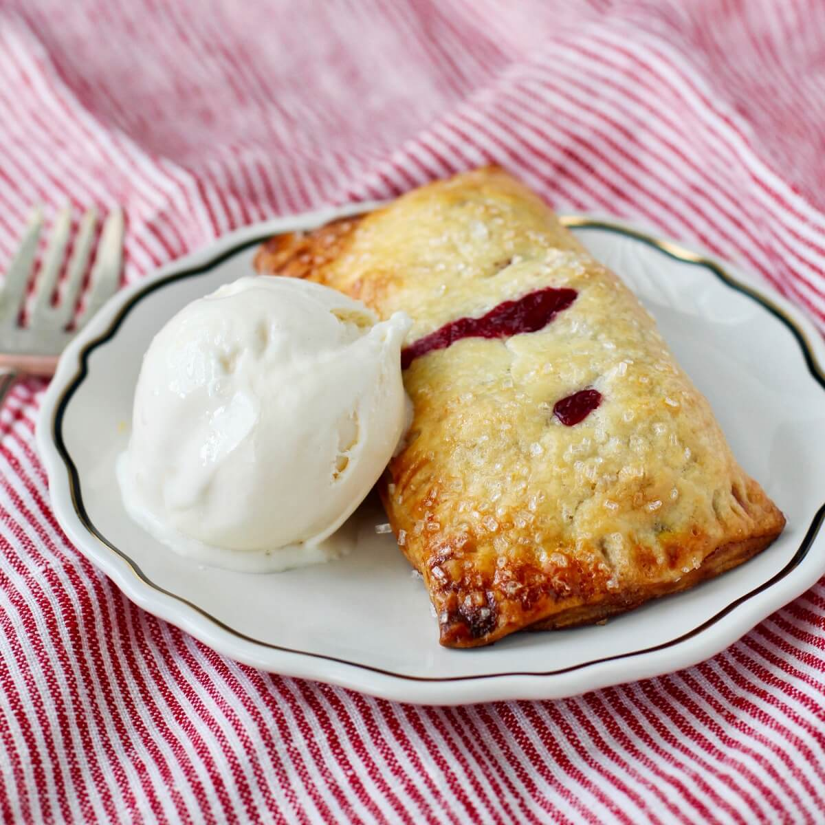 Summer Berry Turnovers with ice cream