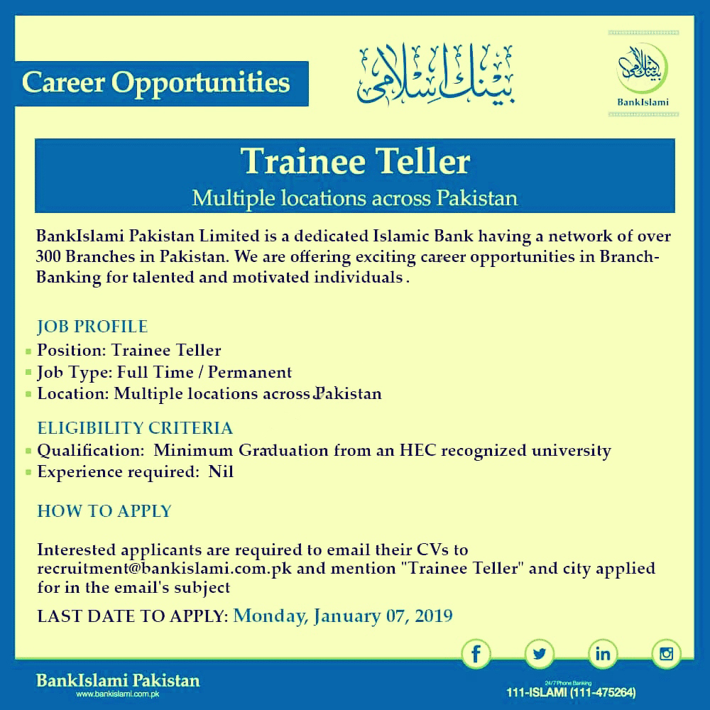 Bank islami jobs 2019 Trainee Teller- online registration-online submit application email-bank jobs