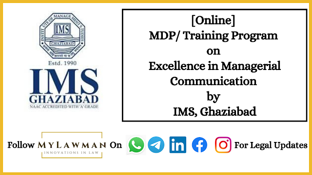 [Online] MDP/ Training Program on Excellence in Managerial Communication by IMS, Ghaziabad [Register Soon]