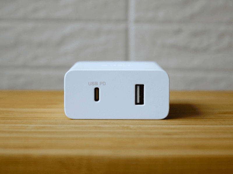 The USB-PD charger has USB-C and USB-A ports