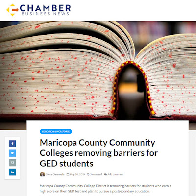 Snapshot of web story by Chamber Business News.  Image of an open book.  Headline: Maricopa County Community Colleges removing barriers for GED students