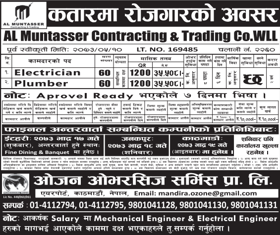 Free Visa, Free Ticket Jobs For Nepali In Qatar Salary- Rs.35,508/