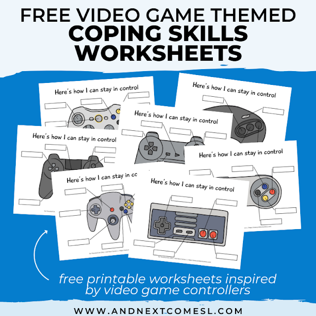 Free printable coping skills worksheets for kids and teens that are inspired by video games!