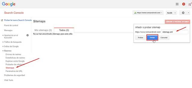 enviar el sitemap de la nueva propiedad con HTTPS