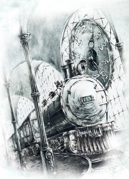 09-The-train-in-the-Station-Elwira-Pawlikowska-Gothic-and-Steampunk-style-Architecture-with-Ink-and-Watercolor-Illustrations-www-designstack-co