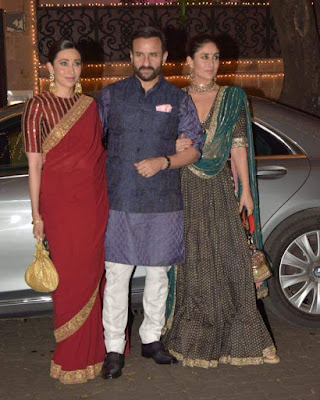 Saif Ali khan with his wifey Kareena Kapoor khan and karishma Kapoor at Diwali Bash
