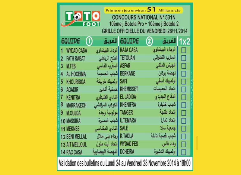 TOTO FOOT COUNCOURS NATIONAL N 531N