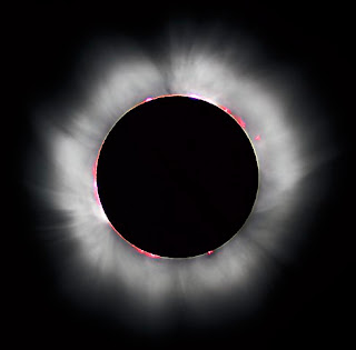 The Sun's corona is visible during a total solar eclipse