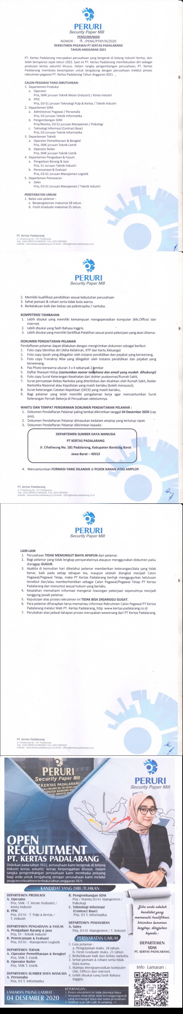 Lowongan Kerja PT Kertas Padalarang (Peruri Group) Tingkat SMK D3 S1 Bulan Desember 2020