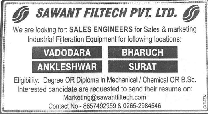 Sawant Filtech looking for Sales Engineers, Eligible and interested candidates can apply
