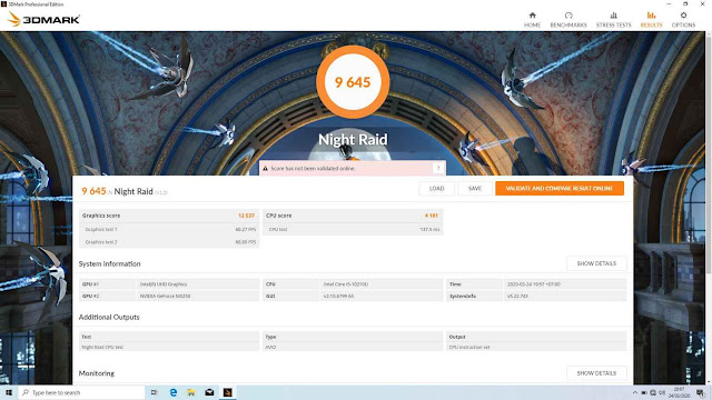 Benchmark 3DMark Night Raid Asus VivoBook S14 S433