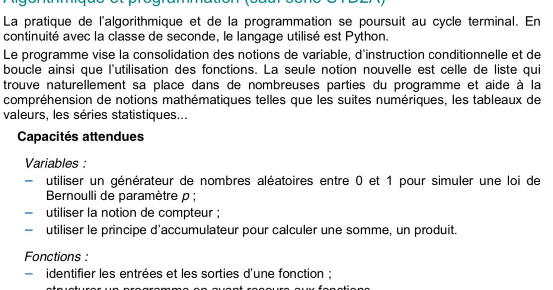 Algorithme et programmation en 1ère STMG