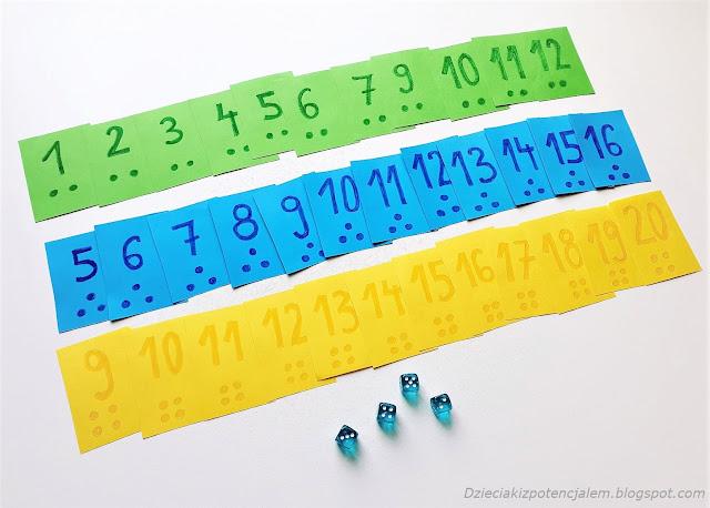 gra matematyczna z użyciem kostek i kart własnej roboty