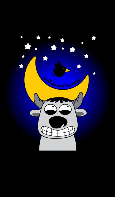Buffalo and the moon