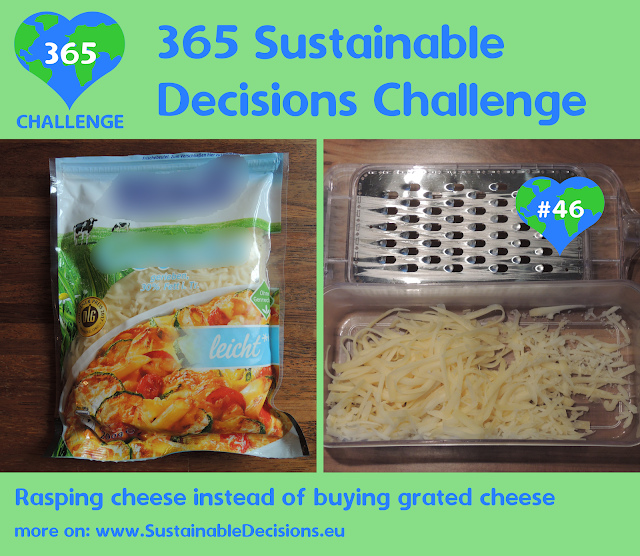 On the left a picture of grated cheese in a plastic bag; on the right a picture of manually grated cheese