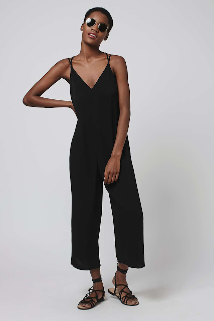 black slouchy jumpsuit, black strap cropped jumpsuit,
