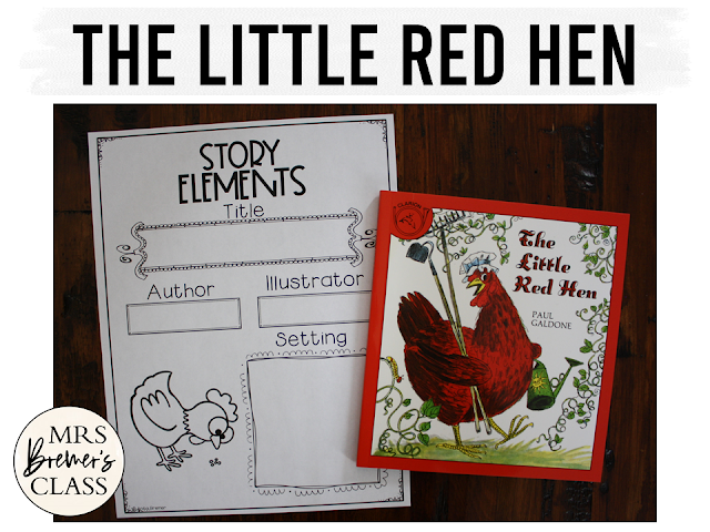 Little Red Hen book study literacy unit with Common Core aligned companion activities, a class book and craftivity for Kindergarten and First Grade