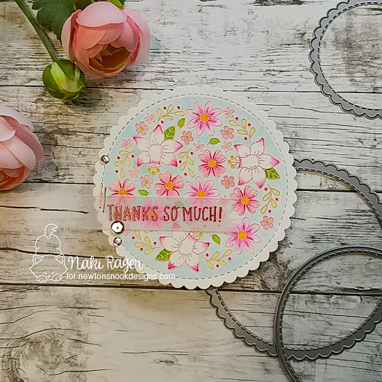Floral Thank You Card by Nakaba Rager | Floral Roundabout Stamp Set and Circle Frames Die Set by Newton's Nook Designs  #newtonsnook #handmade