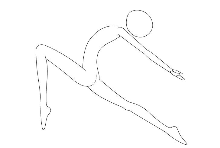 Anime balet berpose menggambar lengan