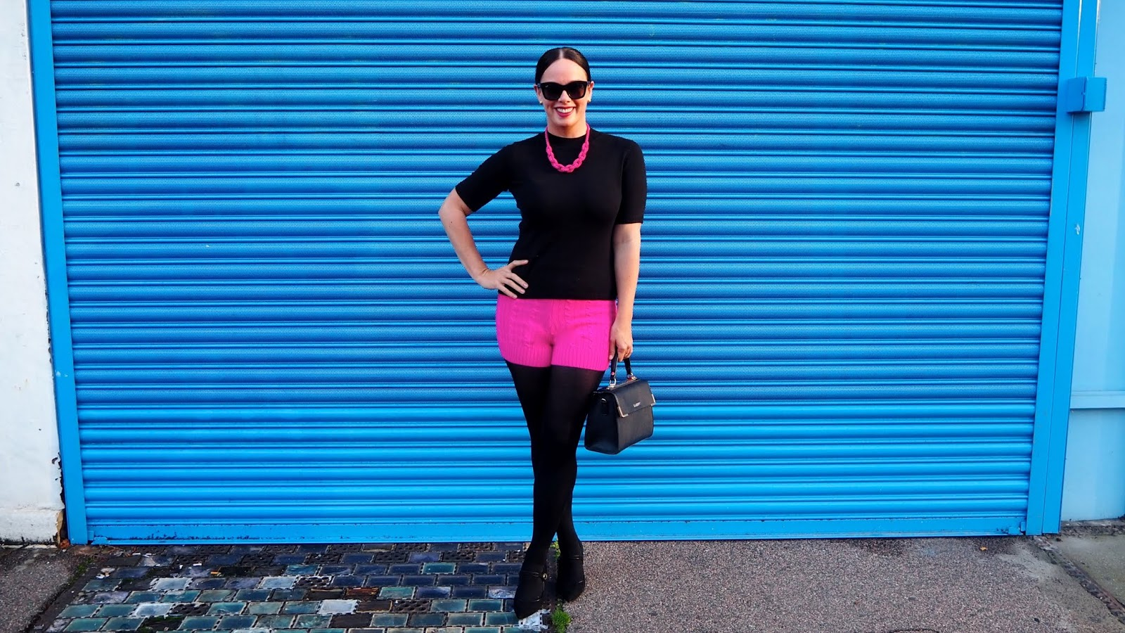 hot pink and black outfit