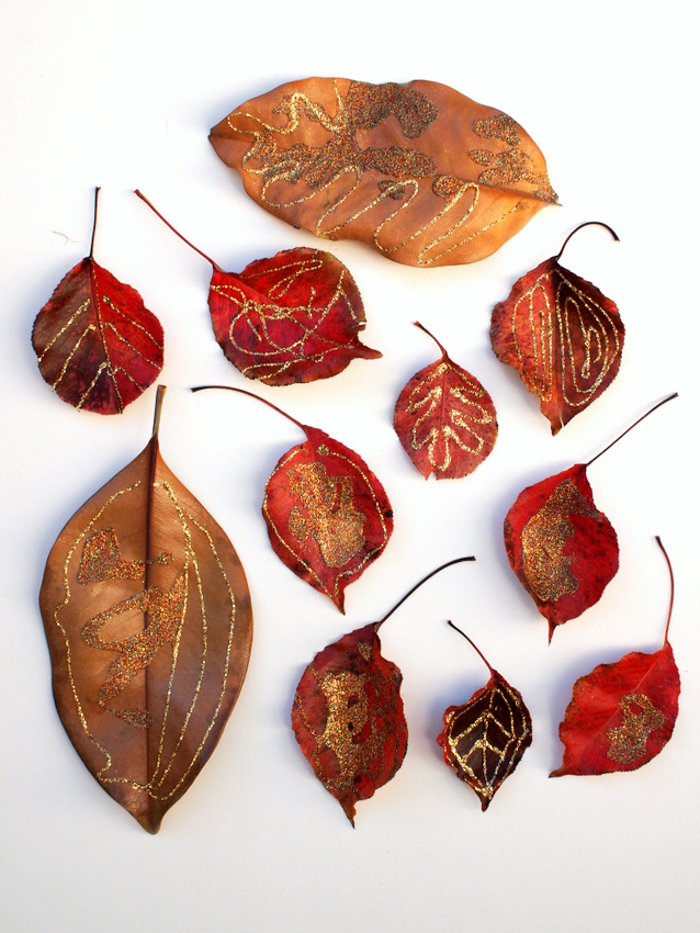 gorgeous and glittery fall leaf process art- great fall art activity to do with kids of all ages