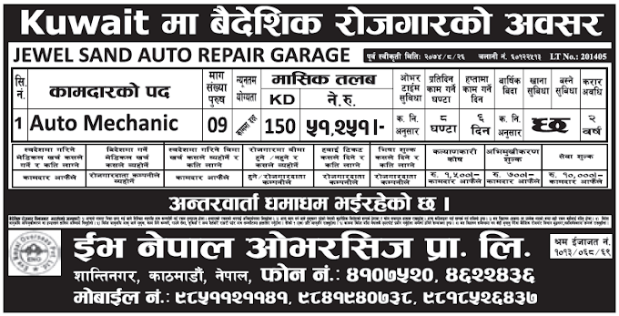 Jobs in Kuwait for Nepali, Salary Rs 51,251