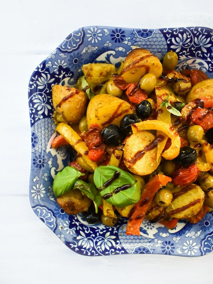 Potato and Vegetable Bake drizzled with balsamic glaze