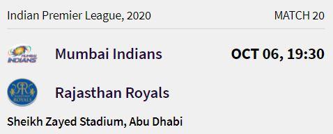 Mumbai Indians match 6 ipl 2020