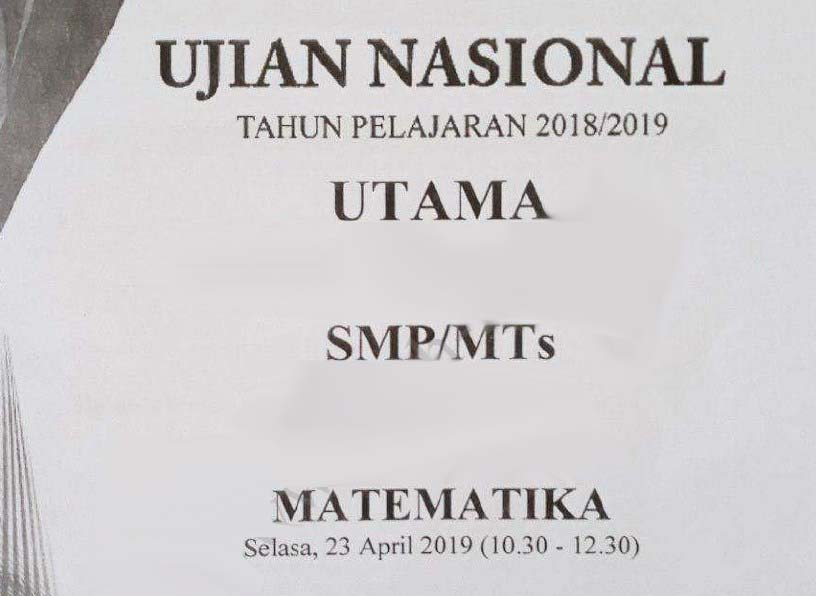 kali ini yang akan dibagikan adalah Pembahasan Soal Ujian Nasional  Pembahasan Soal UN Matematika SMP Tahun 2019