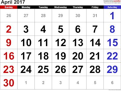 April 2017 calendar, April 2017 printable calendar, April 2017 calendar printable, April calendar 2017, April 2017 calendar with holidays, April 2017 blank calendar