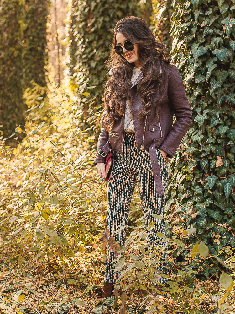 fashion blogger diyorasnotes leather jacket print pants boots asos dresslily