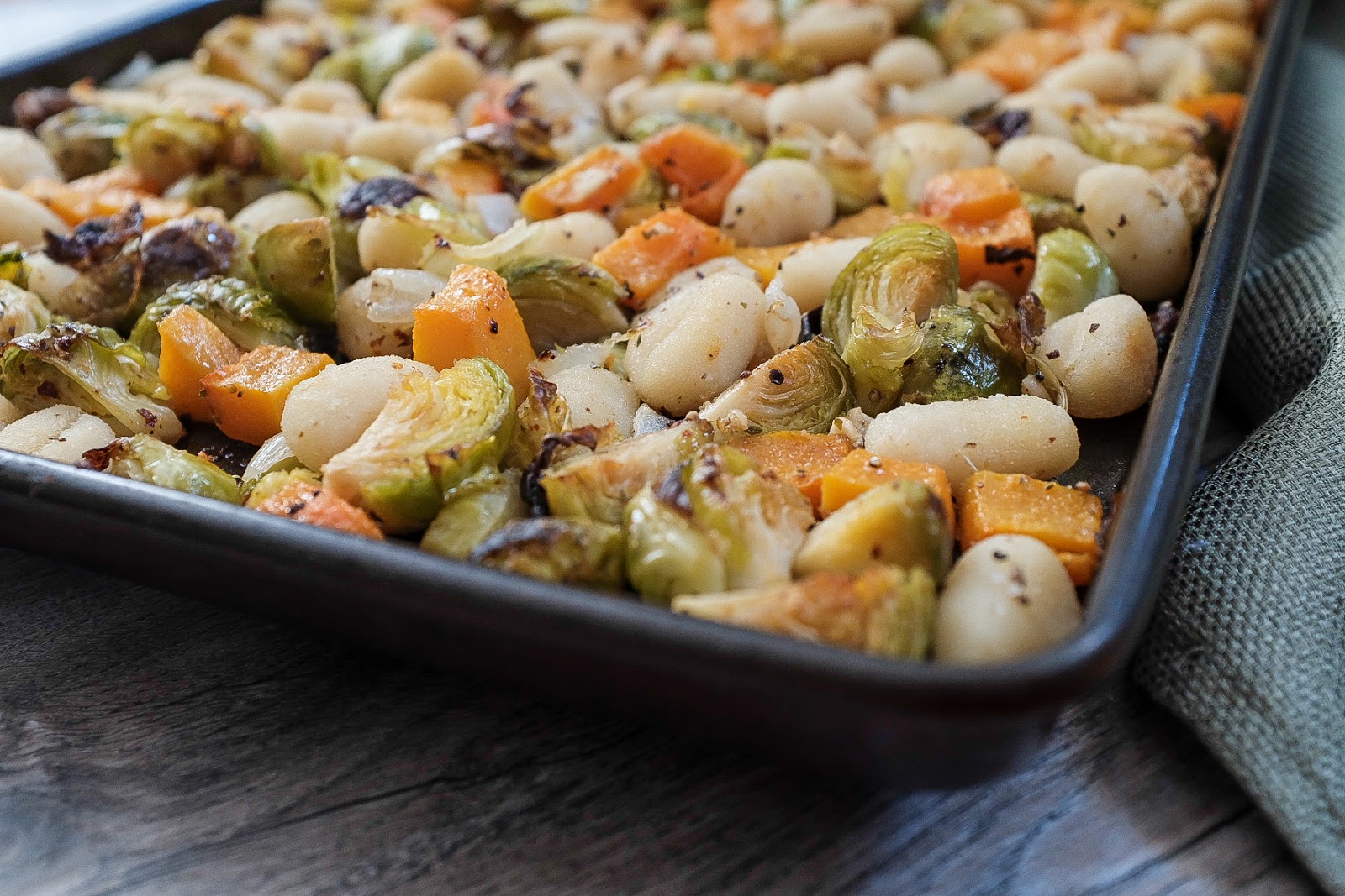 Gnocchi with Brussels Sprouts and Butternut Squash roasted on a sheet pan | Local Food Rocks
