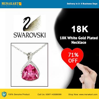 Swarovski Elements 18K White Gold Plated Necklace- SWR-129