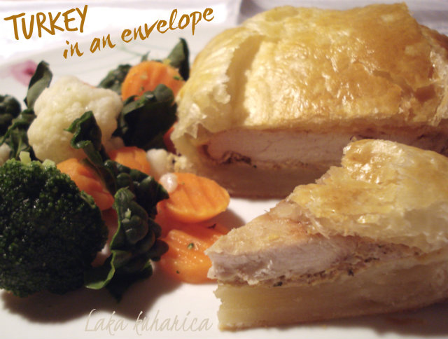 "Turkey in an envelope by Laka kuharica: tender turkey steaks are hidden in a light puff pastry ""envelope""."