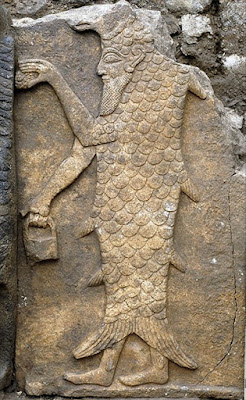 A Sumerian Apkallu, depicted as a human-fish hybrid. 14th century BC, Temple of Adda, Aleppo, Syria.