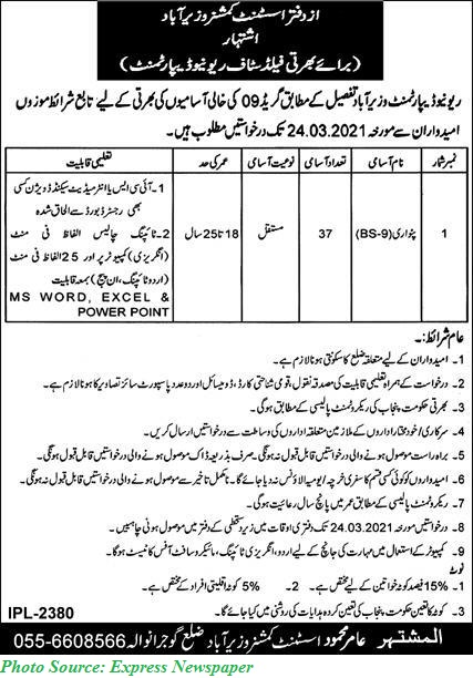 Revenue Department Govt of Punjab Patwari Jobs 2021 at Different Cities of Punjab