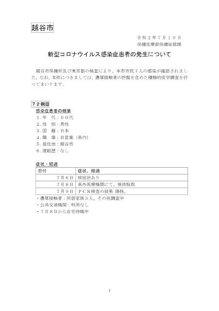 新型コロナウイルス感染症患者の発生について(7月10日発表)