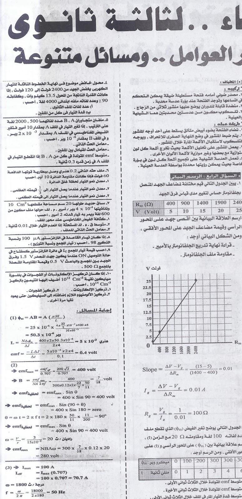 ملحق الجمهورية: مراجعة فيزياء الثانوية العامة 7/6/2016 10
