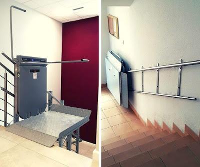 Platforma przyschodowa na wąskich schodach w przychodni
