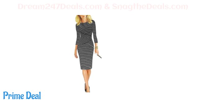 40% off REPHYLLIS Women 3/4 Sleeve Striped Wear to Work Business Cocktail Pencil Dress