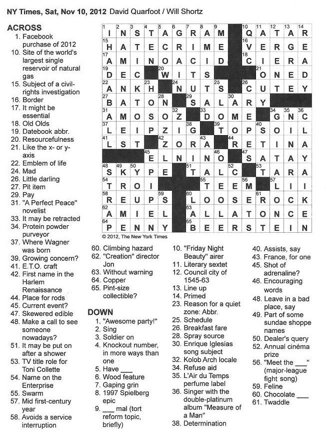 The New York Times Crossword in Gothic: 11.10.12 — Dictus